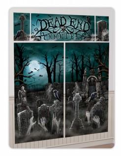 Gruseliger Geister-Friedhof mit Zombies Halloween Wanddeko-Set 5-teilig bunt