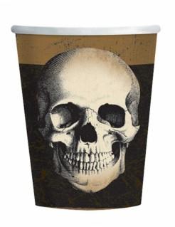 Totenkopf Pappbecher Halloween-Partyzubehör 10 Stück beige-schwarz 266ml