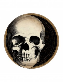 Totenschädel Pappteller Halloween-Tischdeko 10 Stück 23cm