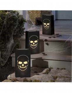 Totenkopf Laternen Halloween-Partydeko 6 Stück schwarz 28 x 15 x 9cm