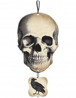 Fieser Totenkopf Halloween-Hängedeko mit Rabe beige-schwarz 44,4 x 21,6cm