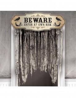 Gruseliger Türvorhang Halloween-Partydeko beige-schwarz 140 x 100cm