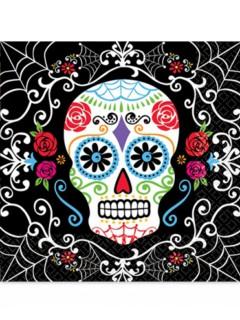 Dia de los Muertos Papierservietten Halloween-Tischdeko 33 x 33cm bunt