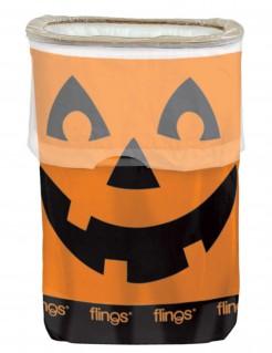 Halloween-Mülleimer mit Kürbis-Motiv orange-schwarz 49,2l