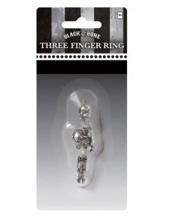 Skelett-Schmuck Dreifingerring silber