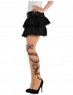 Halloween-Strumpfhose mit Schlangen Tattoo Kostüm-Accessoire transparent-grau