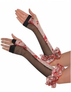 Fingerlose Halloween-Handschuhe mit Blutflecken und Netzeinsatz Kostüm-Accessoire schwarz-beige-rot