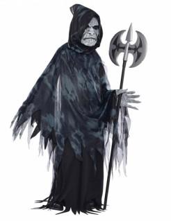 Gnadenloser Tod Halloween Kostüm für Teenager Sensenmann schwarz-grau