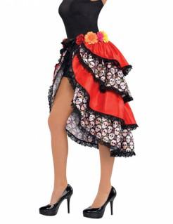 Dia de los Muertos Halloween-Rock mit Sugar Skulls und Rosen Kostüm-Accessoire bunt