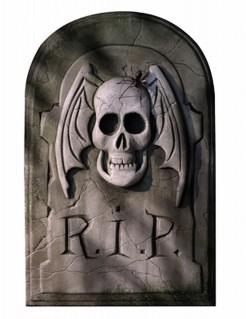 Deko-Grabstein mit Totenschädel und Spinne Halloween-Partydeko grau 29 x 46cm