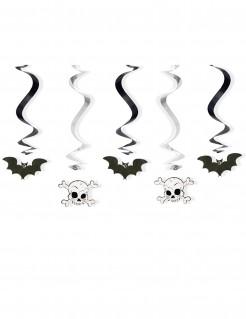 Hängespiralen mit Fledermäusen und Totenköpfen Halloween-Partydeko 5 Stück schwarz-weiss