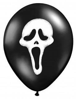 Luftballons mit Geistergesicht Halloween-Partydeko 6 Stück schwarz-weiss 30cm