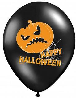 Happy Halloween Party-Luftballons mit Kürbis 6 Stück schwarz-orange-weiss 30cm