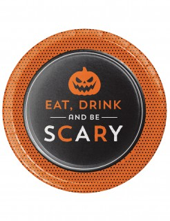 Halloween Teller Eat Drink and Be Scary 8 Stück 18 cm