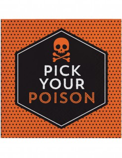Halloween Servietten Pick your Poison 16 Stück orange-schwarz
