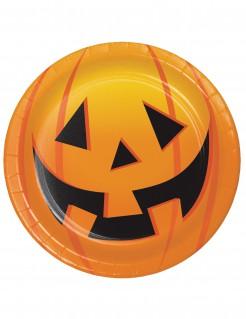 Halloween-Partyteller Grinsender Kürbis Halloween-Tischdeko 8 Stück orange 18cm