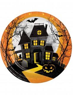 Halloween-Partyteller Spukschloss Halloween-Tischdeko 8 Stück bunt 23cm