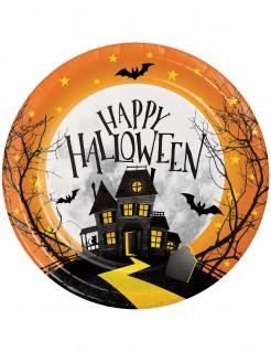 Halloween-Partyteller Spukschloss 8 Stück bunt 18cm