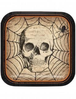 Rechteckige Pappteller mit Totenschädel und Spinne Halloween-Tischdeko beige-schwarz 18 x 18cm
