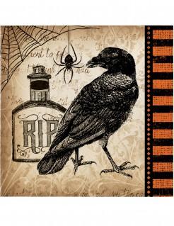Halloween-Servietten mit Raben-Motiv 16 Stück braun-schwarz-orange 25x25cm