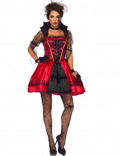Sexy Vampirkleid Vampir-Damenkostüm rot-schwarz