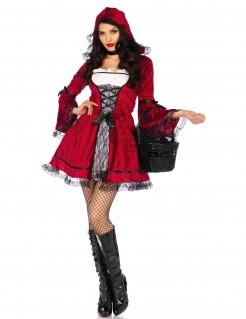 Düsteres Rotkäppchenkostüm Gothic rot-schwarz