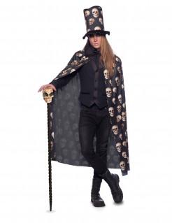 Halloween-Kostümset Umhang und Hut mit Totenkopf 2-teilig schwarz