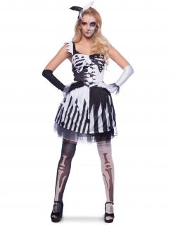 Skelett Clowns-Kostüm für Damen schwarz-weiss