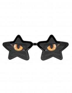 Riesige Katzenaugen Halloween-Brille schwarz-gelb