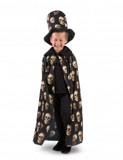 Halloween-Kostümset für Kinder mit Totenköpfen schwarz