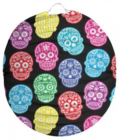 Tag der Toten Lampion Sugar Skull Laterne schwarz-bunt 22cm