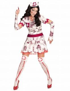 Zombie-Krankenschwester Halloween Kostüm für Damen weiss-rot