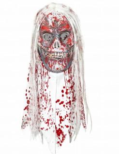 Blutige Zombiemaske Halloween rot-weiß