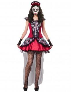Día de los Muertos-Kostüm für Damen Skelett Halloween-Kostüm rot-schwarz