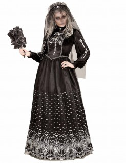 Dia de los Muertos Skelettbraut-Kostüm für Damen schwarz-weiss