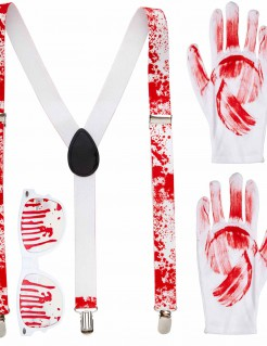 Blutige Accessoires Set für Erwachsene weiss-rot