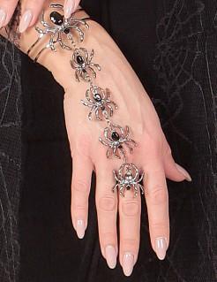 Halloween-Schmuck Armband und Ring Spinne für Damen silber-schwarz