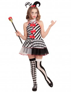 Harlekin-Mädchenkostüm Halloween-Kinderkostüm schwarz-weiss-rot