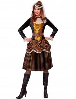 Steampunk-Prinzessinnenkostüm für Damen schwarz-braun-gold