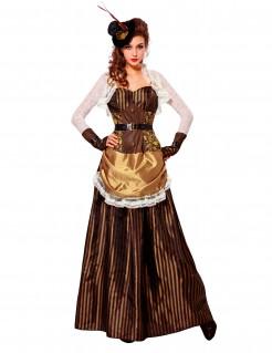 Barockes Steampunk-Damenkostüm braun-goldfarben