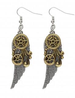 Steampunk-Ohrringe für Erwachsene Flügel gold-silber