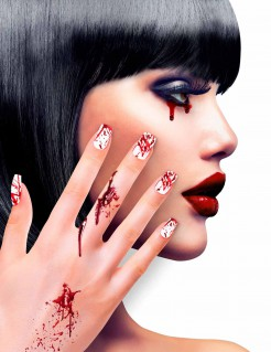Blutige Halloweenfingernägel 12 Stück rot-weiss