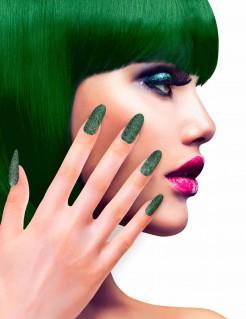 Künstliche Glitzer-Fingernägel 12 Stück grün