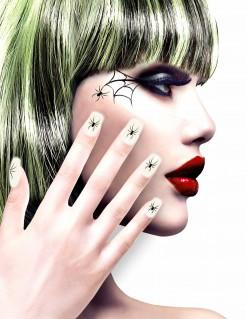 Künstliche Fingernägel mit Spinnenmotiv 12 Stück weiss-schwarz