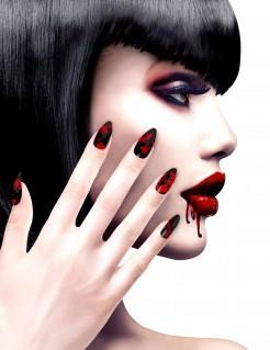 Künstliche blutige Fingernägel für Halloween 12 Stück schwarz-rot