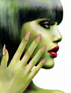Künstliche Zombie-Fingernägel Halloween 12 Stück beige