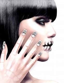Künstliche Fingernägel mit Totenkopf schwarz-weiß