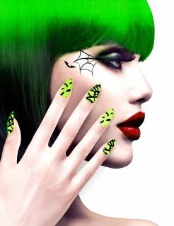 Fledermaus Halloween-Fingernägel 12 Stück grün-schwarz