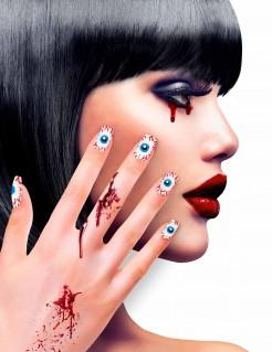 Fingernägel mit Augen Horror-Fingernägel 12 Stück weiß-blau-rot