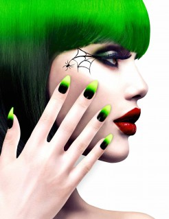 Halloween Hexen-Fingernägel 12 Stück schwarz-grün